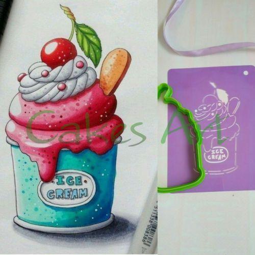 Набор для пряников вырубка + трафарет: Мороженое с вишней