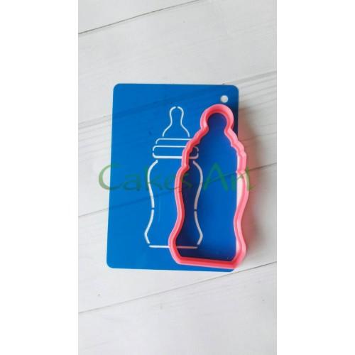 Набор для пряников вырубка + трафарет: Детская бутылочка