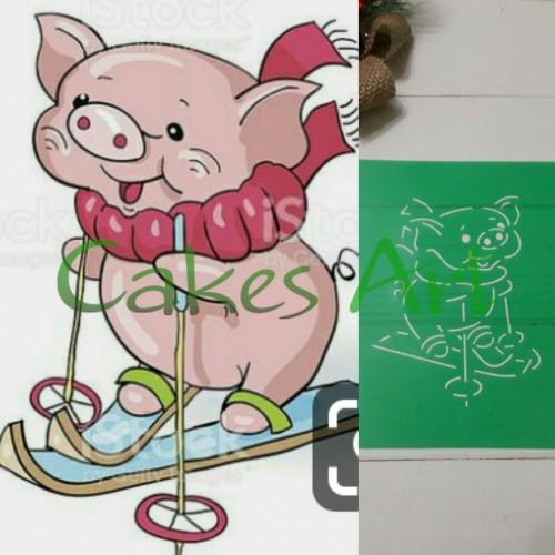 Набор для пряников вырубка + трафарет: Свинка на лыжах