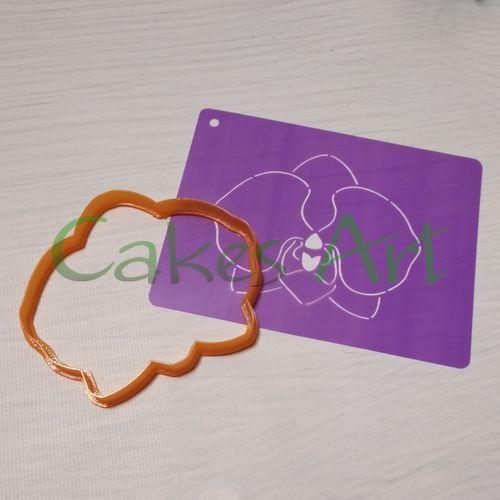 Набор для пряников вырубка + трафарет: Орхидея 001