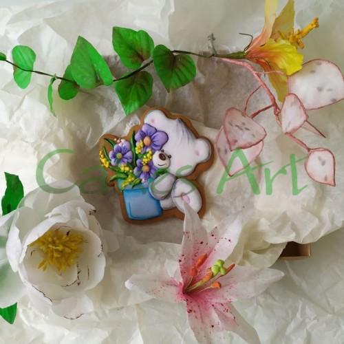 Набор для пряников вырубка + трафарет: Мишка с цветочным горшком 001