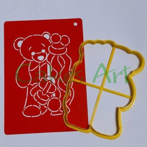 Набор для пряников вырубка + трафарет: Девочка с мишкой 001