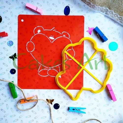 Набор для пряников вырубка + трафарет: Мишка с сердцем 007