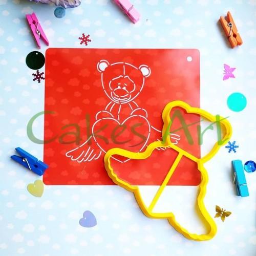 Набор для пряников вырубка + трафарет: Мишка с сердцем 006