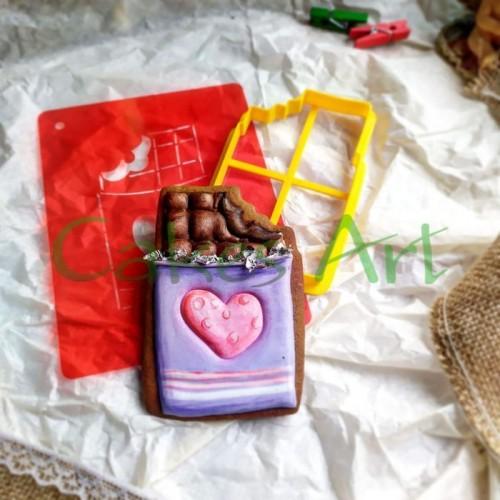 Набор для пряников вырубка + трафарет: Шоколадка 001