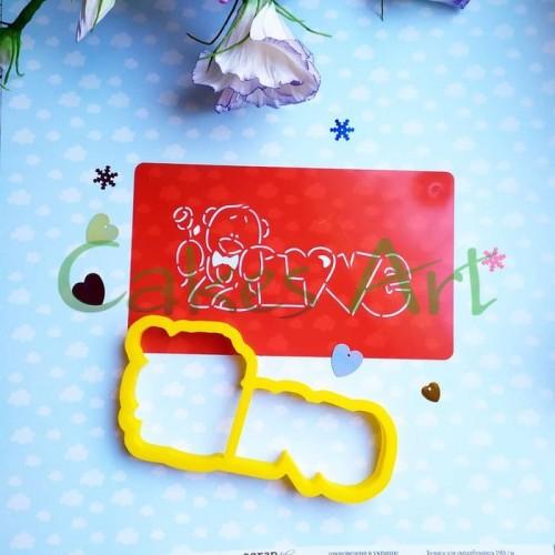 Набор для пряников вырубка + трафарет: Мишка с розочкой 001