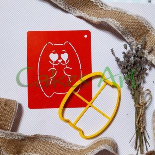 Набор для пряников вырубка + трафарет:  Кот простой 001