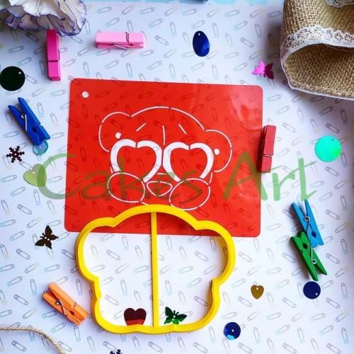 Набор для пряников вырубка + трафарет: Мишка Тедди в очках 001