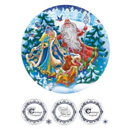 Вафельная сахарная картинка на торт Дед мороз 009