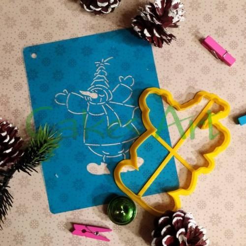 Набор для пряников вырубка + трафарет:  Снеговик 007
