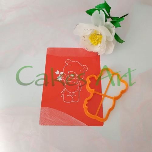 Набор для пряников вырубка + трафарет: Мишка с цветами 001