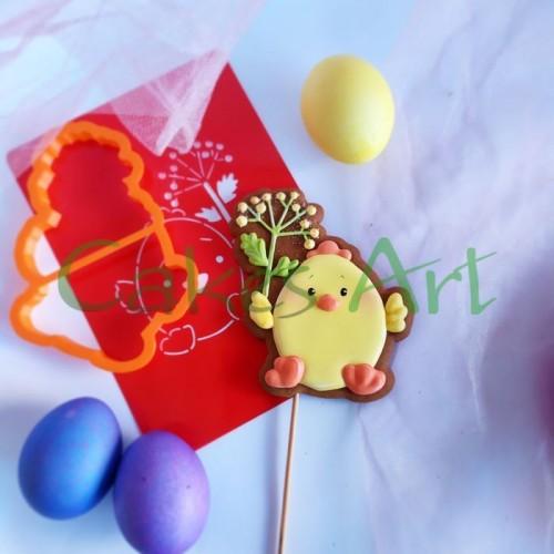 Набор для пряников вырубка + трафарет: Цыпленок с цветком 002