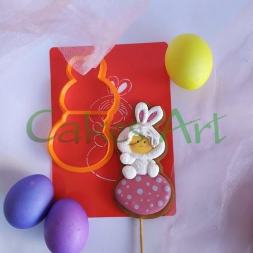 Набор для пряников вырубка + трафарет:  Малыш на яйце 001