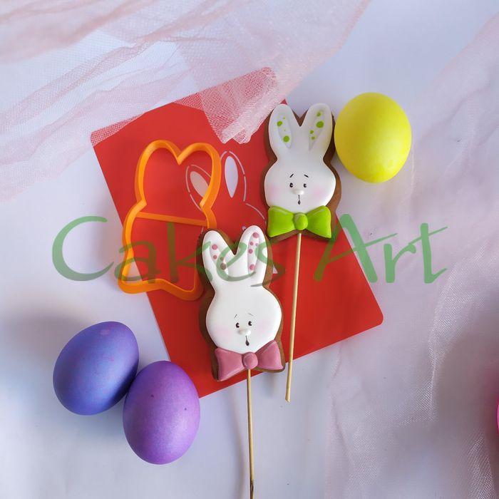 Набор для пряников вырубка + трафарет: Голова зайца с бантиком 005