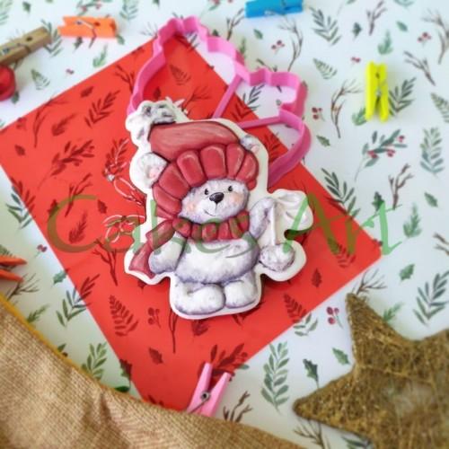 Набор для пряников вырубка + трафарет:  Мишка с игрушкой 001