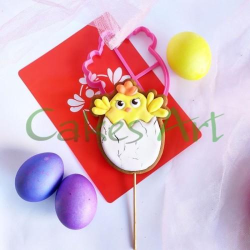 Набор для пряников вырубка + трафарет: Цыпленок в яйце простой 002
