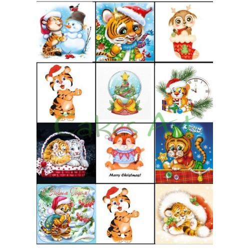 Вафельная сахарная картинка на торт Год тигра 002