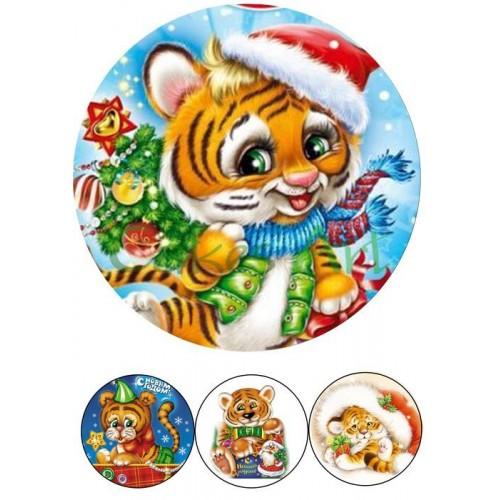 Вафельная сахарная картинка на торт Год тигра 006