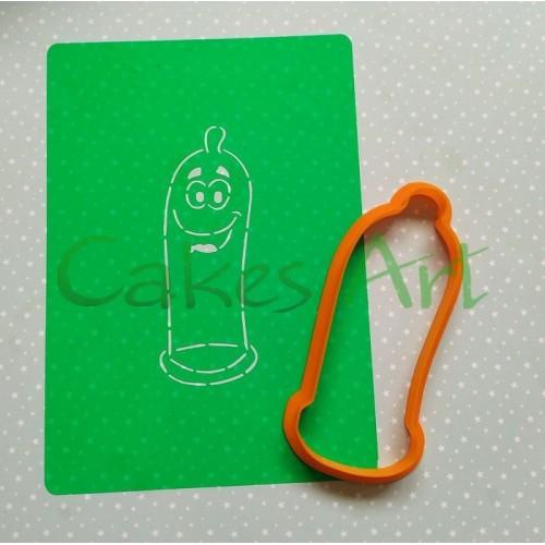 Набор для пряников вырубка + трафарет:  Веселый презерватив