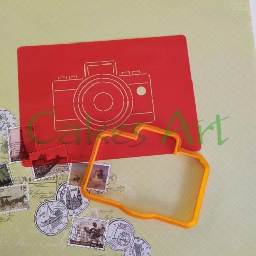 Набор для пряников вырубка + трафарет: Фотоаппарат 001
