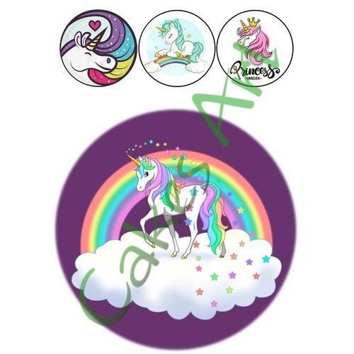 Вафельная сахарная картинка на торт Единорог 005