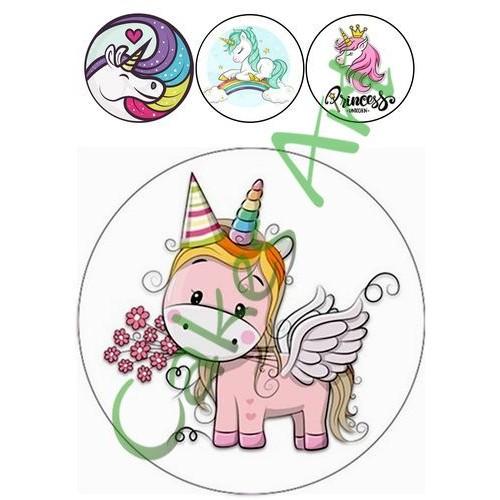 Вафельная сахарная картинка на торт Единорог 006