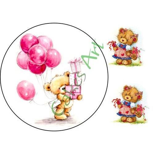 Вафельная сахарная картинка на торт Мишки 004