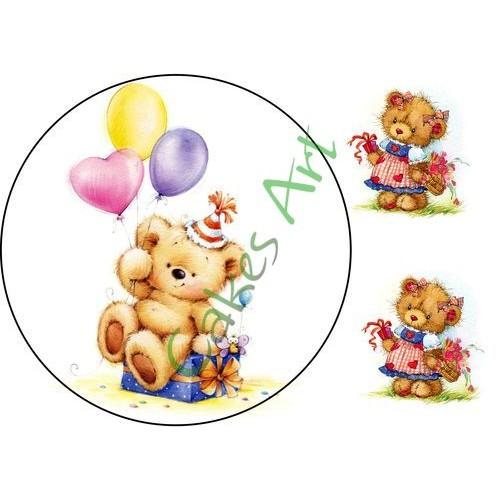 Вафельная сахарная картинка на торт Мишки 005