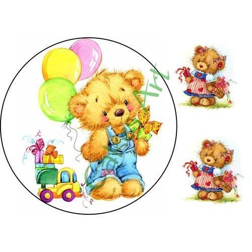 Вафельная сахарная картинка на торт Мишки 006