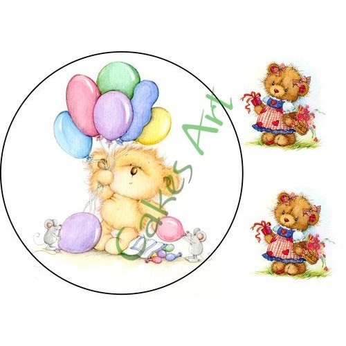 Вафельная сахарная картинка на торт Мишки 008