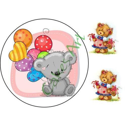 Вафельная сахарная картинка на торт Мишки 009