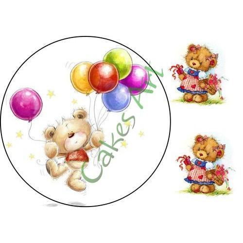Вафельная сахарная картинка на торт Мишки 010