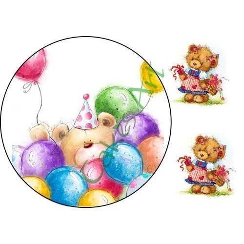 Вафельная сахарная картинка на торт Мишки 011