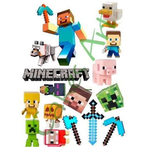 Вафельная сахарная картинка на торт Майнкрафт Minecraft 010