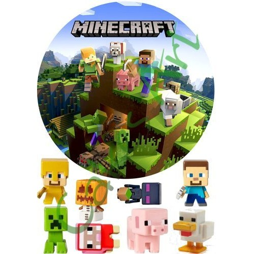 Вафельная сахарная картинка на торт Майнкрафт Minecraft 011