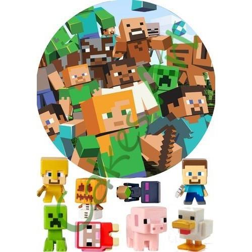 Вафельная сахарная картинка на торт Майнкрафт Minecraft 015