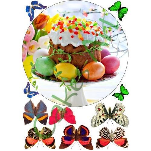 Вафельная сахарная картинка на торт Пасха 001