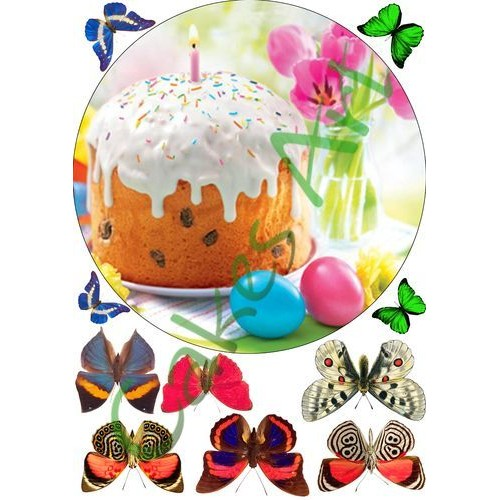 Вафельная сахарная картинка на торт Пасха 002