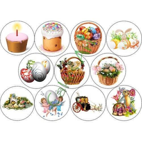 Вафельная сахарная картинка на торт Пасха 003