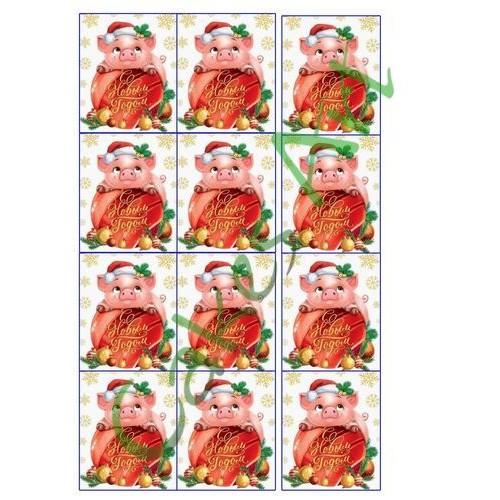 Вафельная сахарная картинка на торт Новый год и Рождество 041