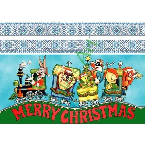 Вафельная сахарная картинка на торт Новый год и Рождество 044