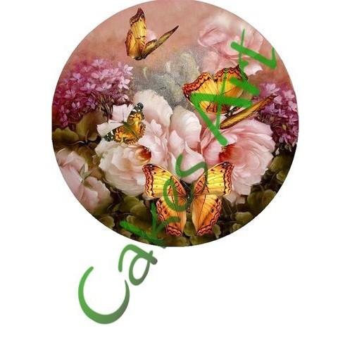 Вафельная сахарная картинка на торт Бабочки 001