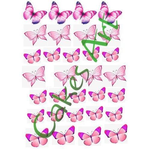 Вафельная сахарная картинка на торт Бабочки 003