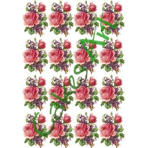 Вафельная сахарная картинка на торт Цветы 016