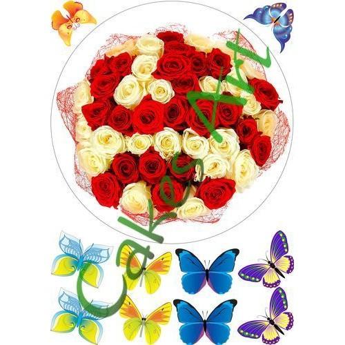 Вафельная сахарная картинка на торт Цветы 026