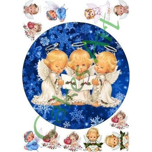 Вафельная сахарная картинка на торт Ангелочки 001
