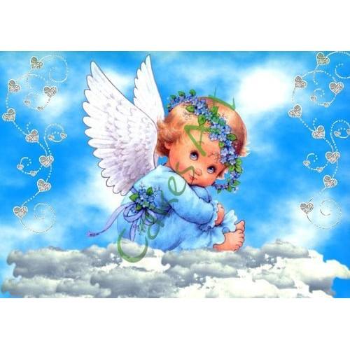 Вафельная сахарная картинка на торт Ангелочки 002