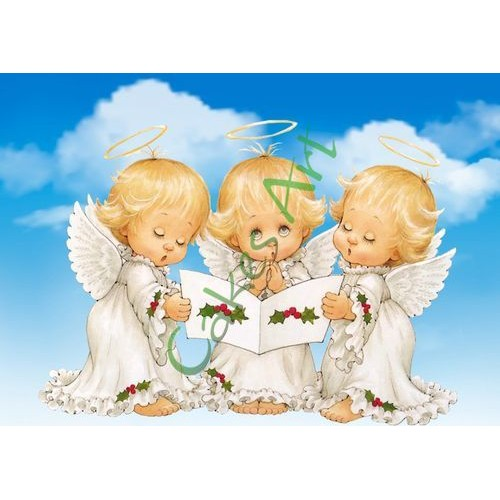 Вафельная сахарная картинка на торт Ангелочки 003
