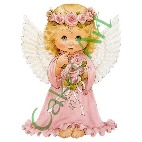 Вафельная сахарная картинка на торт Ангелочки 005