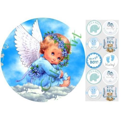 Вафельная сахарная картинка на торт Ангелочки 007